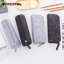 Pencil-Bag Korean Stationery School-Supplies Felt Multifunctional Solid-Color Fashion