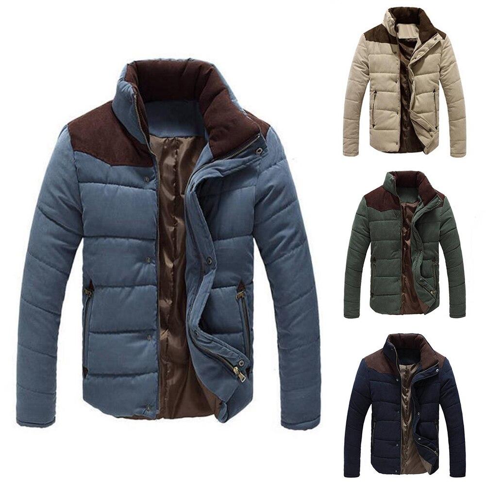 Manteau Taille Stand Hommes Plus La Décontractée Veste Épais De Parkas Col Bloc D'hiver Gros Couleur qRL3A54cj