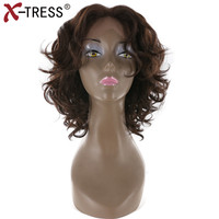 X TRESS Synthetic Lace Front Wig Medium Brown Free Part Glueless Heat Resistant Fiber Short Kinky Curly Wigs For Black Women