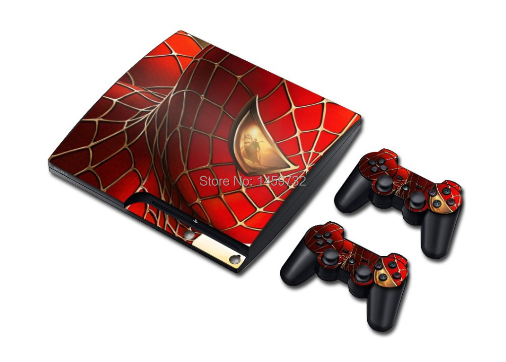 Pop Skin Stickers for PlayStation 3 PS3 Slim Console and  2 Controller Cover Decals Spider man 016#