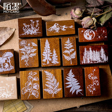 XINAHER Vintage Forest Plants moon decoration stamp wooden rubber stamps for scrapbooking stationery DIY craft standard stamp(China)