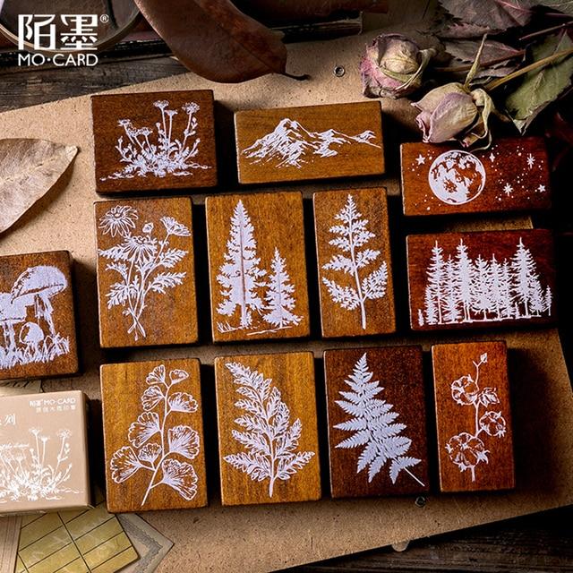 XINAHER בציר יער צמחים ירח קישוט בול עץ גומי בולים עבור כתיבה רעיונות DIY קרפט בול רגיל