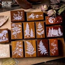 Xinaherヴィンテージの森植物ムーン装飾スタンプ木製ゴムスタンプためスクラップブッキング文房具diyクラフト標準スタンプ