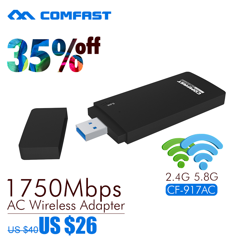 COMFAST 2.4G/5.8G double frequency usb network card CF-917AC 802.11ac USB Wi-FI ADAPTER 1750Mbps 11AC USB3.0 ac wifi adaptor comfast cf wu881nl usb 2 0 network card w external 5dbi antenna black