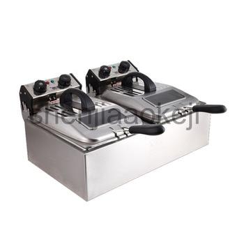 Дым-Бесплатная электрическая фритюрница двухцилиндровый электрическая фритюрница коммерческих большой емкости жарки машины 220 В 5600 Вт 1 шт...