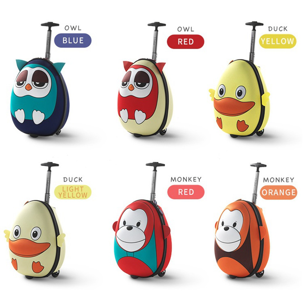 i-baby 3D Animal Design Kids Rolling Luggage Toddler Travel Case Cartoon Boarding Carry on Suitcases, Owl, 2 Colors