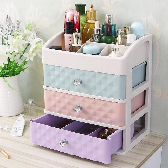 Big Size Plastic Cosmetic Drawer Makeup Organizer Makeup Storage Box