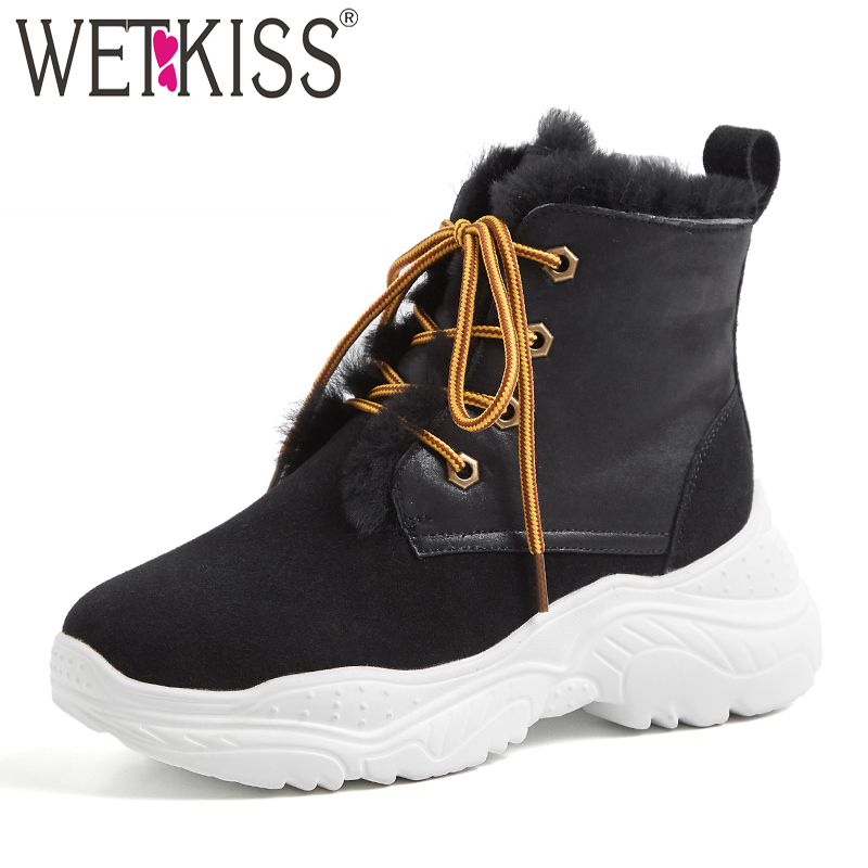 WETKIS Shearling Casual Platform Women Ankle Boots Round Toe Footwear Cow Suede Female Snow Boots Sneakers Shoes Woman WinterWETKIS Shearling Casual Platform Women Ankle Boots Round Toe Footwear Cow Suede Female Snow Boots Sneakers Shoes Woman Winter