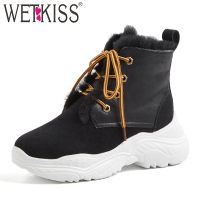 WETKIS Shearling Casual Platform Women Ankle Boots Round Toe Footwear Cow Suede Female Snow Boots Sneakers Shoes Woman Winter