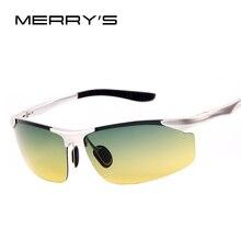Merry's Для Мужчин Поляризованные Вождения Солнцезащитные очки для женщин Ночное видение Алюминий сплав Солнцезащитные очки для женщин Градиент UV400