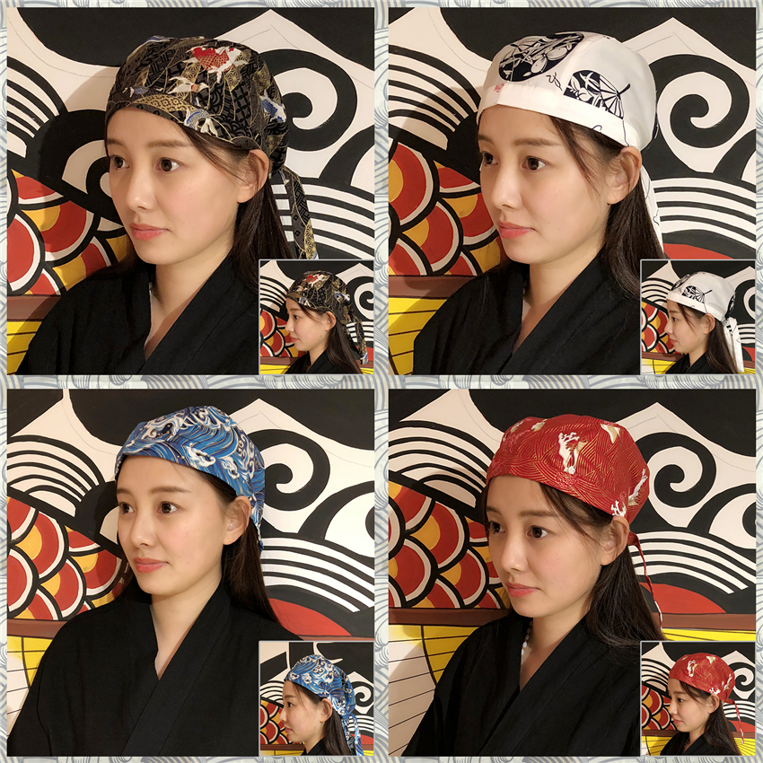 14Color Restaurant Cook Chef Cap Print Sushi Japanese Style Work Wear Uniform Food Service Adjustable Size Pirate Hat image