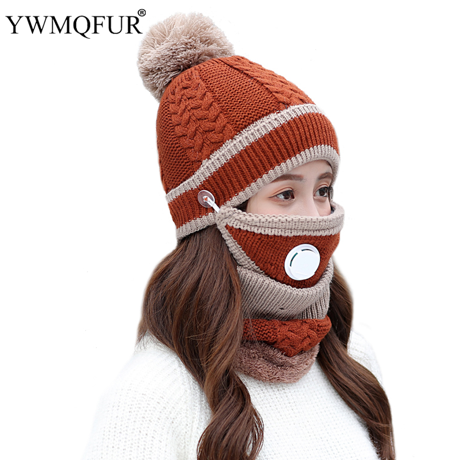 2018 New Winter Classic Hat Scarf Mask Sets For Women Vintage Knit Lady Beanies Caps Girl Outdoor Warm Mask Female Rings Scarves