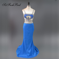 Robe De Soiree Longue Strapless Neck Shiny Beading Crop Top Mermaid 2 Two Pieces Long Party Royal Blue Prom Dresses for Women
