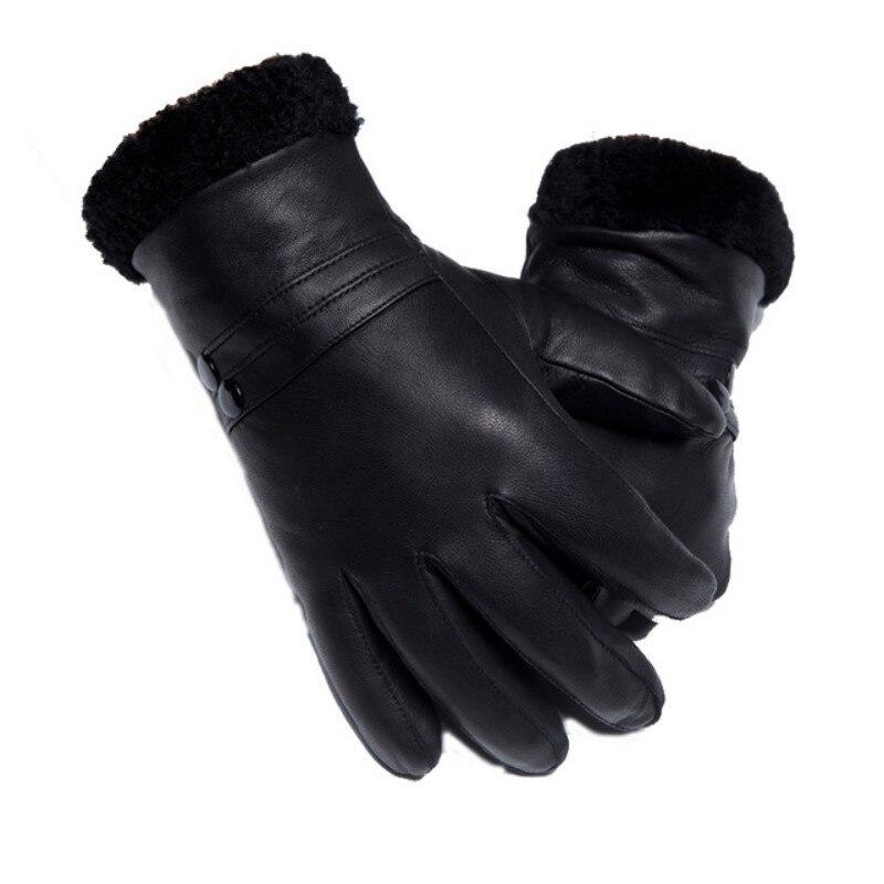 Gants de luxe en cuir de vache véritable homme femme vraie fourrure de mouton gants de conduite chauds mitaines de petit ami d'hiver en gants d'italie - 2