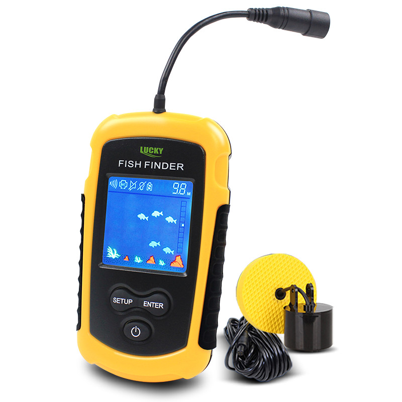 LUCKY Portable Fish Finder Echo Sounder 100M Sonar LCD Echo Sounders Ecoscandaglio Ecoscandaglio per la pesca in russo FFC1108-1