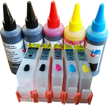 Refillable Ink cartridges for hp364 with photo Black kit + 500ml Dye inks for HP 5510 5520 6510 6520 7510 7520 e-All-in-One