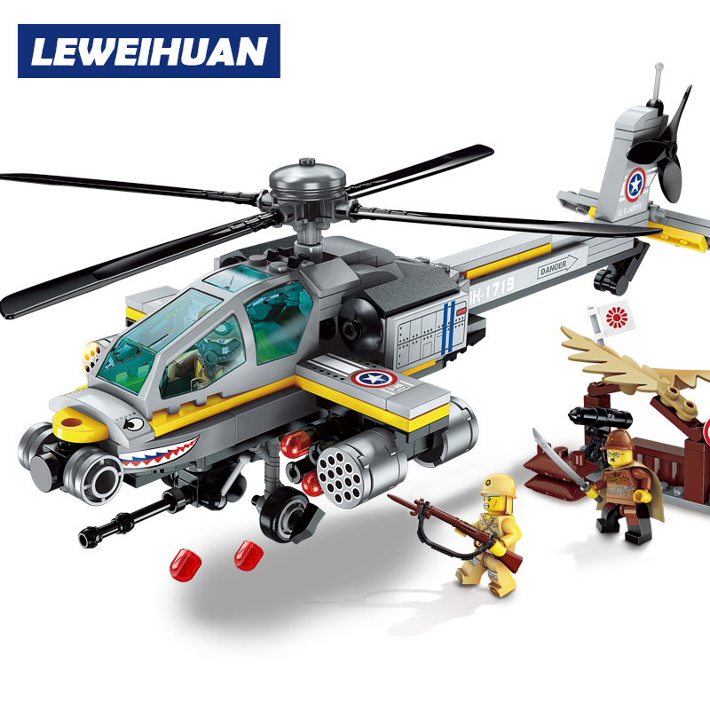 NEW 280pcs Helicopter Model Building Blocks Kits DIY Bricks Educational Toys For Kids Boy Gifts Compatible Legoes
