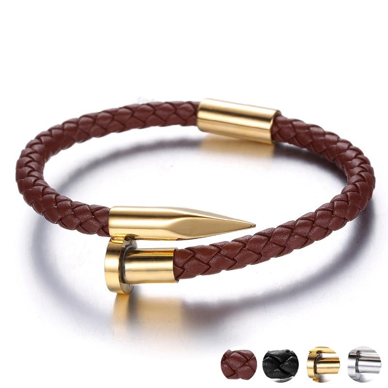 Trendy Geometric Bullet Leather Bracelets Hand Jewelry Black Brown Color Open Rope Mens Bracelet Accessories