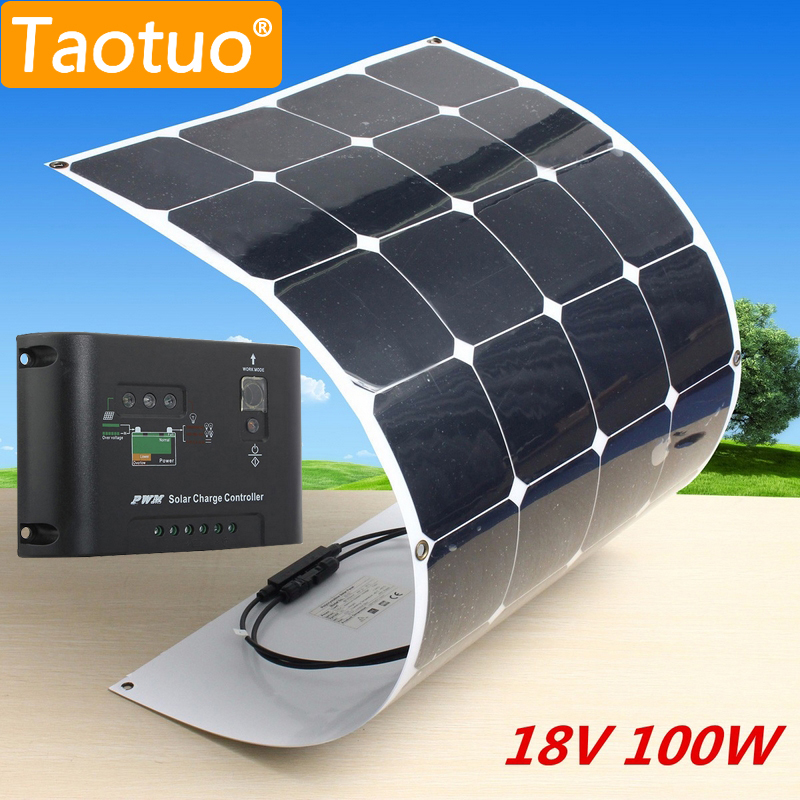 100W 18V Solar Panel Monocrystalline Silicon Solar Board Power Generater + 10A Solar Charger Controller For Battery Car Aircraft