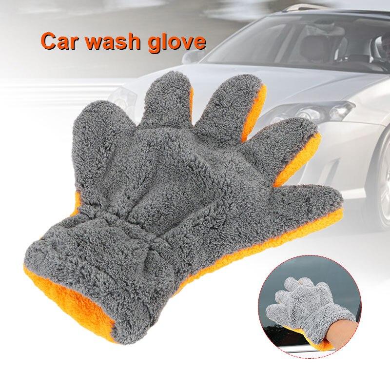 Перчатка для мытья автомобиля перчатка для мытья мягкая перчатка для автомойки Чистка стирка пять пальцев машины прочный серый оранжевый Univrsal