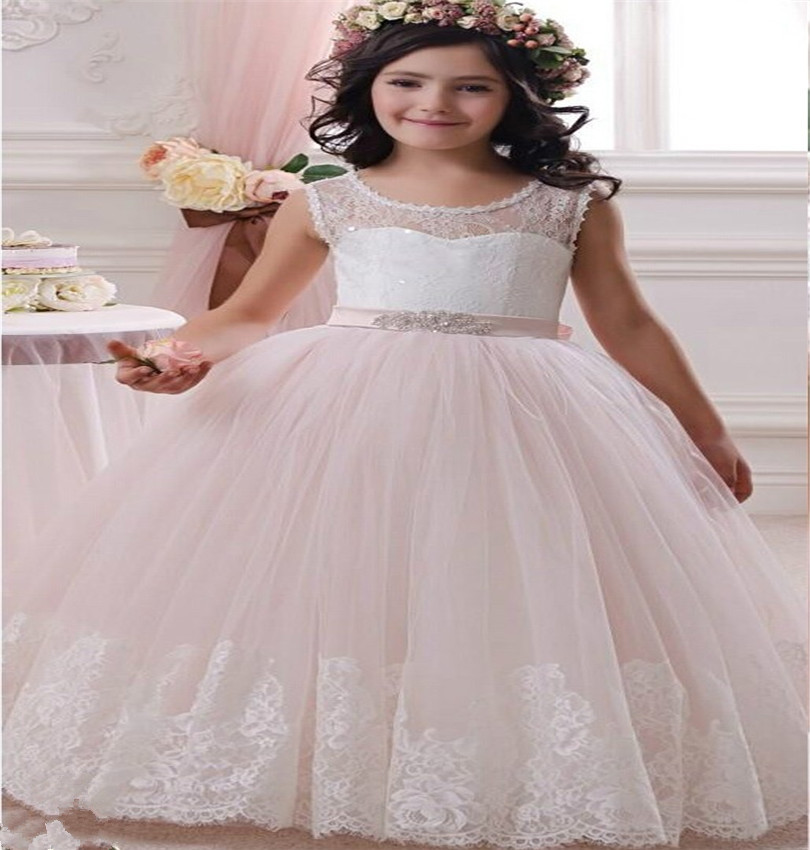 Cheap Plus Size Ball Gown Wedding Dresses: Ball Gown Sheer Lace Flower Girl Dresses 2016 Cheap Plus