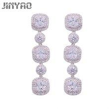 JINYAO Luxury Long Earrings For Women Bridal Sparkling Zircons Stud Earrings Wedding Accessories Jewelry
