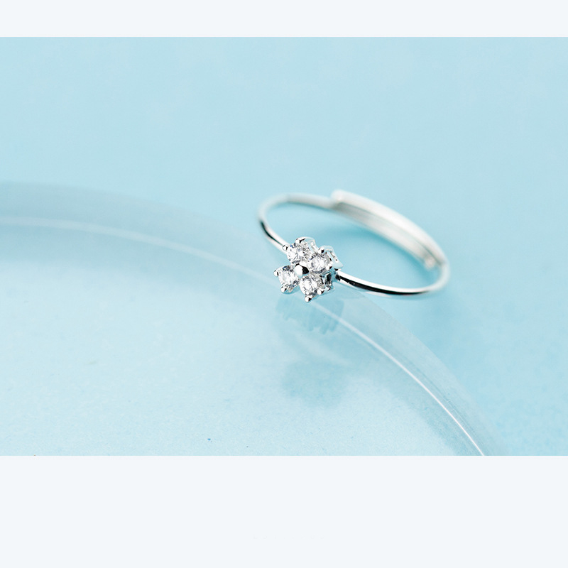 LINDAJOUX 100% 925 Sterling Silver Cute Clear Zircon Small Flower Charm Ring For Women S925 Resizable Wedding Engagement Rings