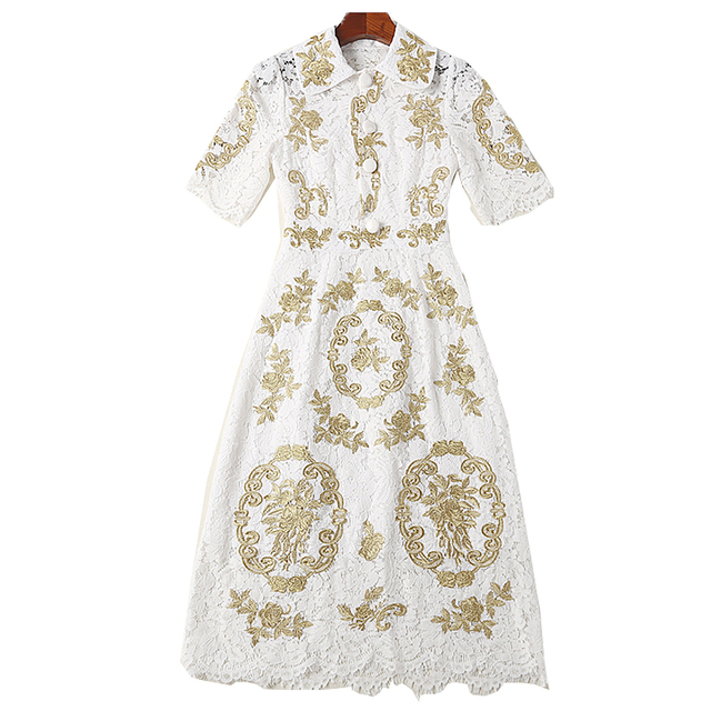 Milan New High Quality Runway Christmas 2018 Spring And Summer Fashion Women'S Party Office Vintage Girls Embroidery Lace Dress 2