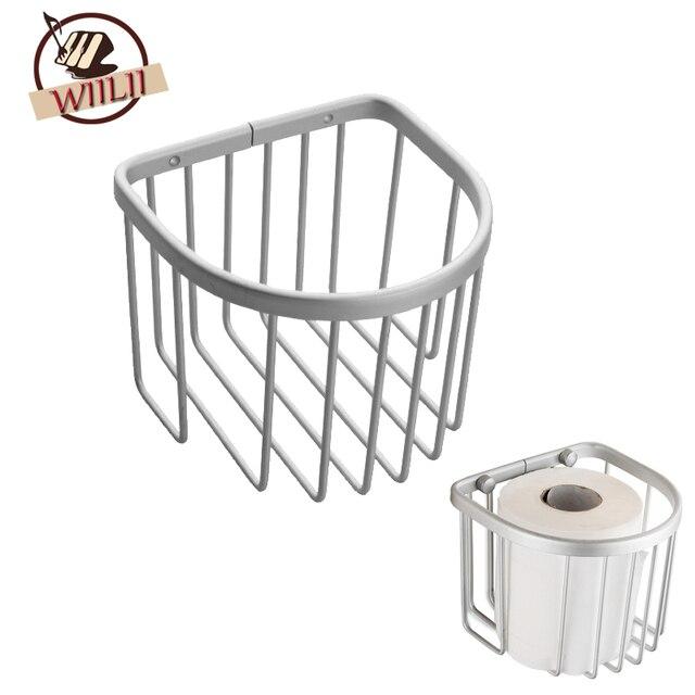 Aluminum Toilet Roll Paper Holder Hanging Organizer Storage Shelves Bathroom Tool