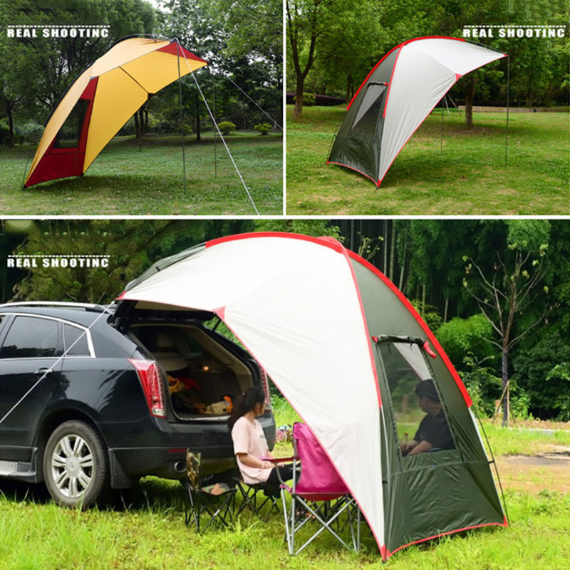 Camping tente pliante tente fibre de verre tige voiture tente voyage Durable parasol 2 couleurs