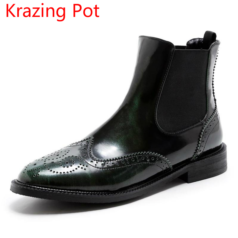 New Arrival Genuine Leather Winter Shoes Fashion Boots European Thick Heels Oxford Hollow Warm Handmade Women Ankle Boots L52 2017 new european and american romantic pop black magazine cool shoes sexy fashion hollow women boots fashion summer boots