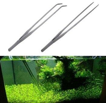 Pinzas de tanque de acero inoxidable pinzas de acuario herramienta de acuario plantas acuáticas codo recto pinzas de clip herramienta de limpieza acuática