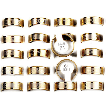 Wholesale Mixed Lots 12pcs Gold Color Mixed Pattern Men's Stainless Steel Rings High Quality Jewelry image