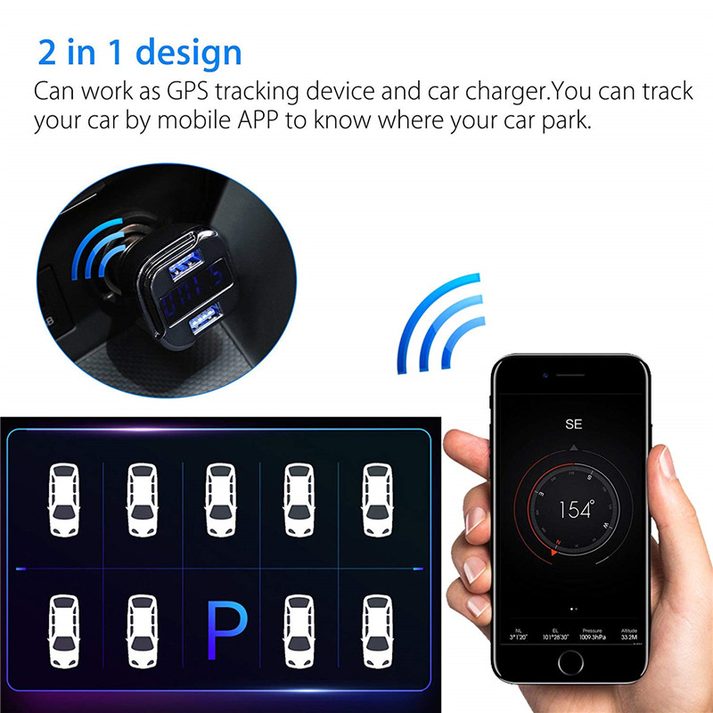 1PC 3.1A Car Locator Charger 2 USB Smart Tracking Device Bluetooth Tools NEW