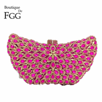 Boutique De FGG Pink Fuchsia Women Crystal Evening Bags Hard Case Wedding Party Butterfly Clutch Minaudiere Handbags and Purses