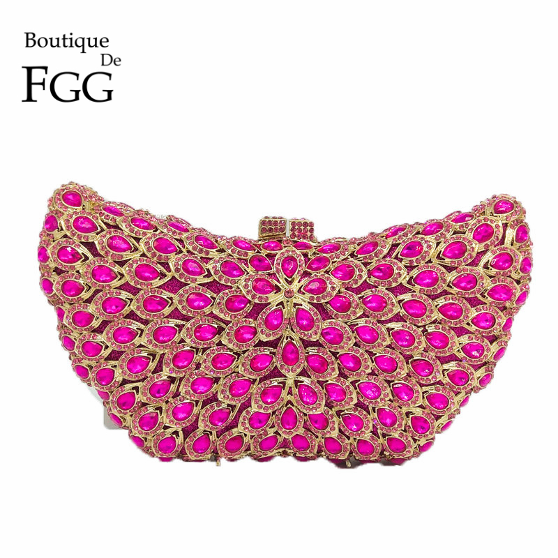 Fuchsia Hot Pink Hollow Out Butterfly Women Crystal Clutch Evening Bag Bridal Diamond Handbags and Purses Wedding Party Clutches gift box hollow out floral evening day clutches party wedding vintage rhinestone evening pink crystal clutch bag women handbags