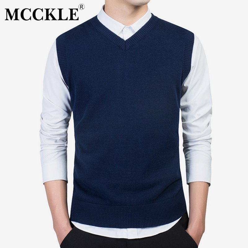 Winter Men's Sweater Knit Vests 2019 Autumn Solid Casual Slim Cotton Man Tops Sleeveless Knitted Sweaters Pullover Tops For Men