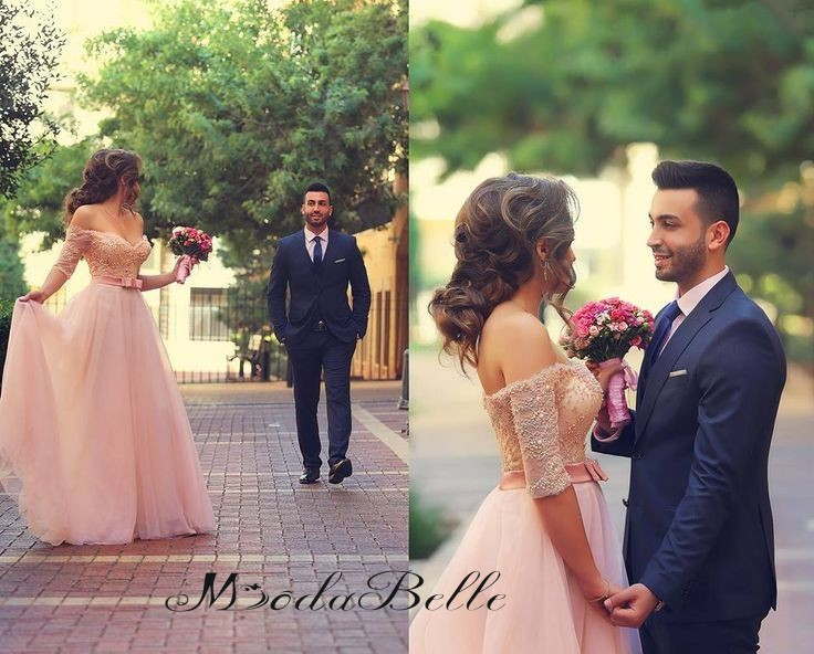 abito da sposa modest blush pink wedding dresses off shoulder with half sleeves sweetheart blush wedding dress a line 2016 sale