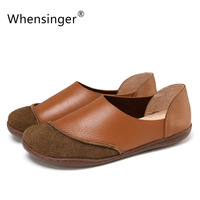 Whensinger 2016 Spring Summer Women Flat Shoes Geunie Leather Loafers Slip On Design 8817