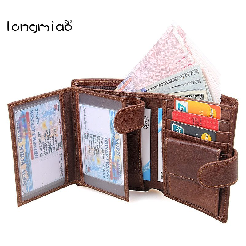 longmiao best rfid blocking credit card holder wallet genuine leather men wallets with coin pocket rfid - Best Card Holder Wallet