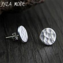 Fyla Mode Simple Fashion Style Real S925 Sterling Silver Fashion Round Stud Earrings Jewellery Women Width 10.50mm 1.10g WTS002