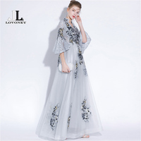 LOVONEY Vintage High V Neck Long Evening Dress with Embroidery Lace Dress Formal Party Dresses Prom Gown Half Sleeves YS427