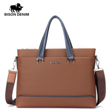 BISON DENIM fashion men bag genuine leather handbag shoulder bags business men briefcase cowhide laptop bag цена в Москве и Питере