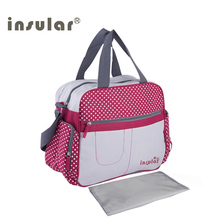 Insular Stylish Dot Printing Diaper Bags Shoulder Messenger Multifunctional Mummy Big Stroller Bag Maternity Handbag Nappy Baby