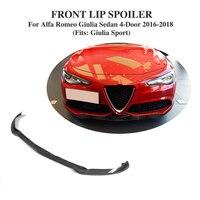 Углеродного волокна гоночный автомобиль переднего бампера для губ Alfa Romeo Giulia Седан 4 двери 2016 2018 FRP черный автомобиль аксессуары