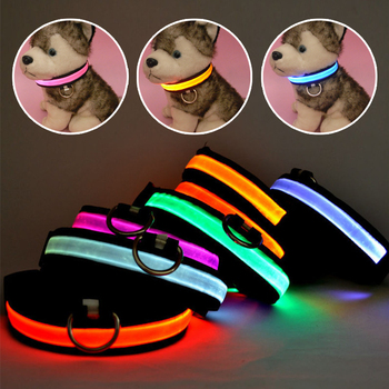 LED Nylon Pet Dog Collar Night Safety Glow Flashing Dog Cat Collar Led Luminous Small Dogs Collars USB Rechargeable