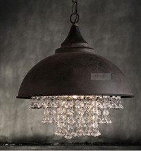 Vintage crystal chandelier Traditional European American style Industrial restoring ancient light  90-240V