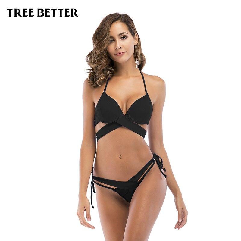 Sexy Bikinis for Women Swimsuit Summer Low Waisted Bathing Suits Halter Top Push Up Bikini Set Plus Size Brazilian Swimwear
