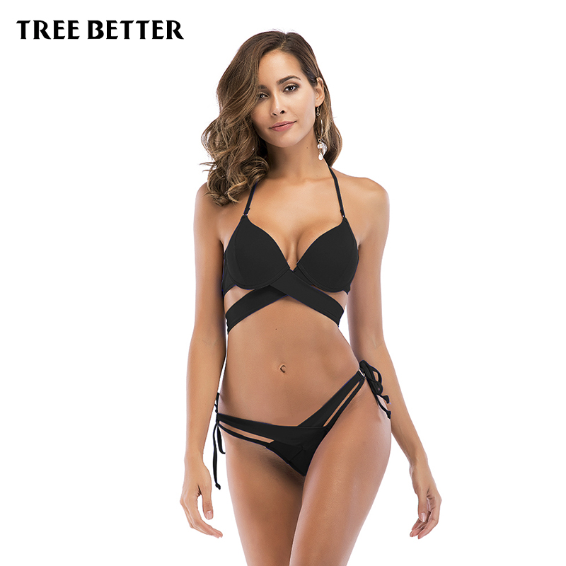 Bikinis Sexy para las mujeres traje de baño verano bajo Waisted trajes de baño Halter Top Push Up Bikini conjunto más tamaño brasileño