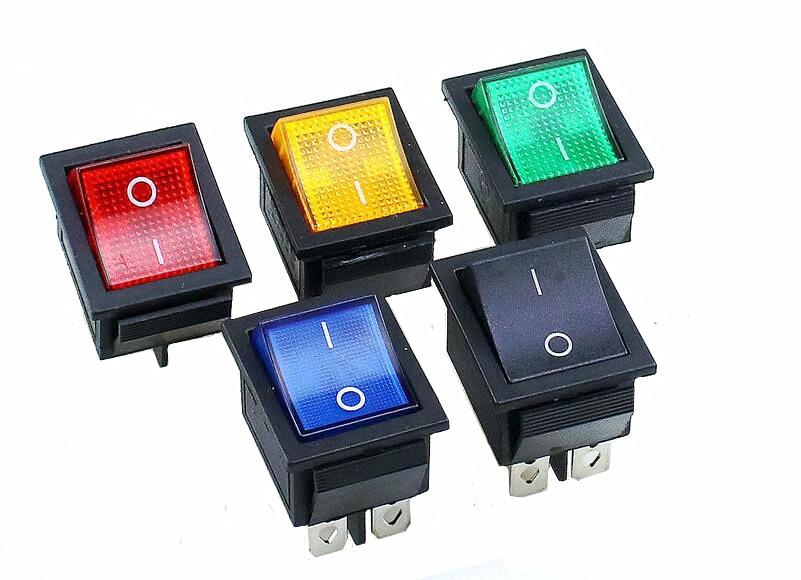 KCD4 включения-выключения 16A 250VAC/20A 125VAC красная кнопка светильник автомобильный с клавишным переключателем 4 Pin переключатель-качалка